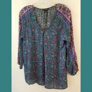 Lucky Brand Teal Floral Top Sz Large